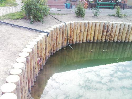 Как сделать стенки пруда